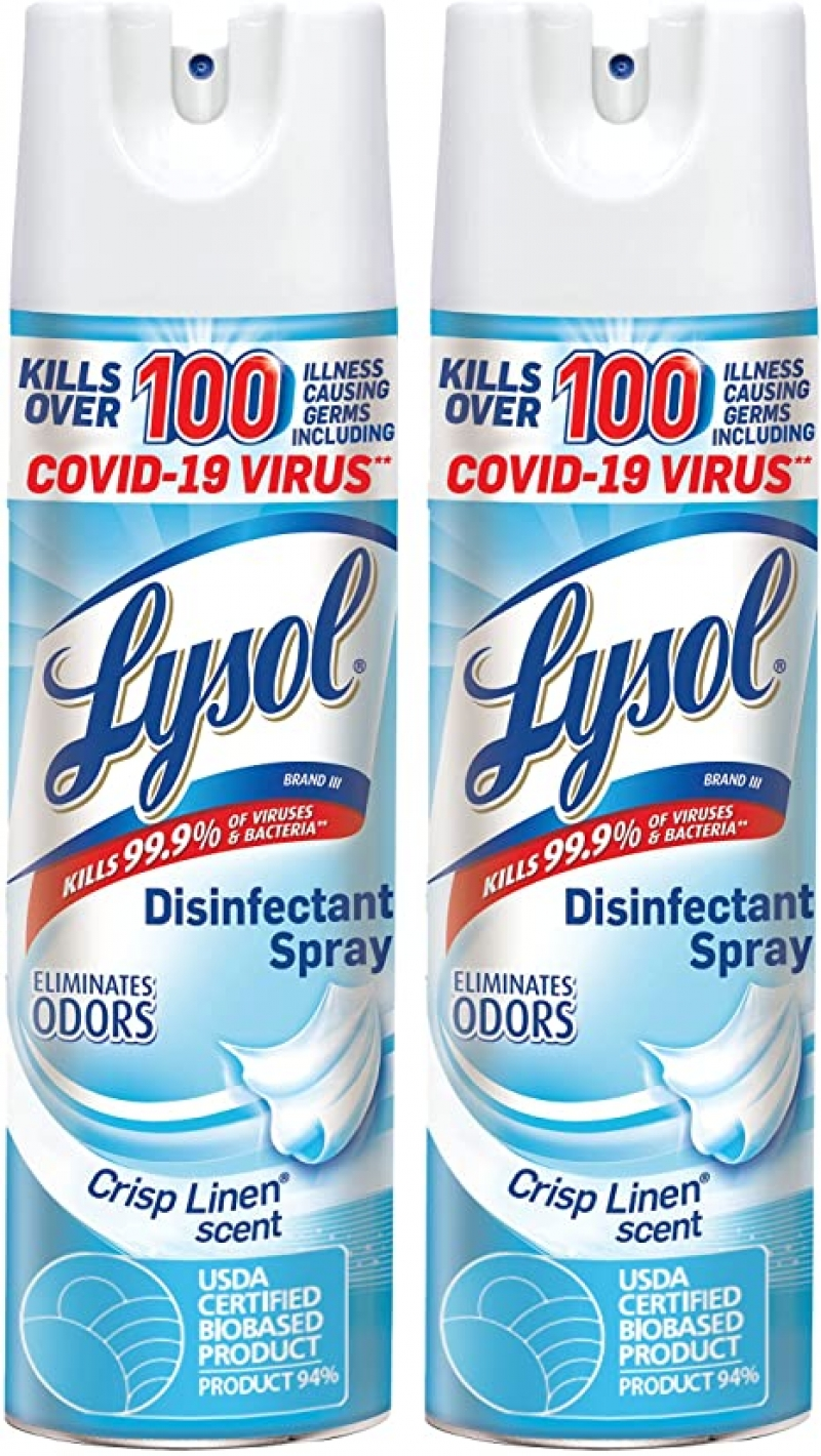 ihocon: Lysol Disinfecting Spray, Crisp Linen, 19oz. (Pack of 2)消毒噴霧
