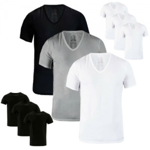 ihocon: Calvin Klein Men's 3 Pack Classic Fit 100% Cotton V-Neck or Crew Neck Undershirt  男士純棉尖領或是圓領衫