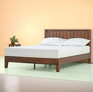ihocon: Zinus Vivek 12 Inch Deluxe Wood Platform Bed with Headboard, Queen 木製床架, 含床頭板