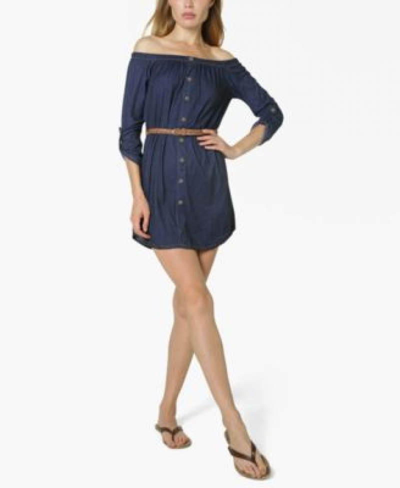 ihocon: Ultra Flirt Juniors' Off-The-Shoulder Belted Shirtdress 露肩襯衫洋裝