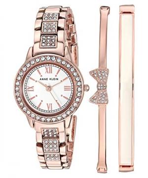 ihocon: Anne Klein Women's Swarovski Crystal Accented Bracelet Watch and Bangle Set施華洛世奇水晶女錶和手鐲套裝禮盒 - 3色可選