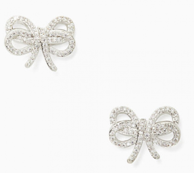 ihocon: Kate Spade bow meets girl pave studs蝴蝶結耳環