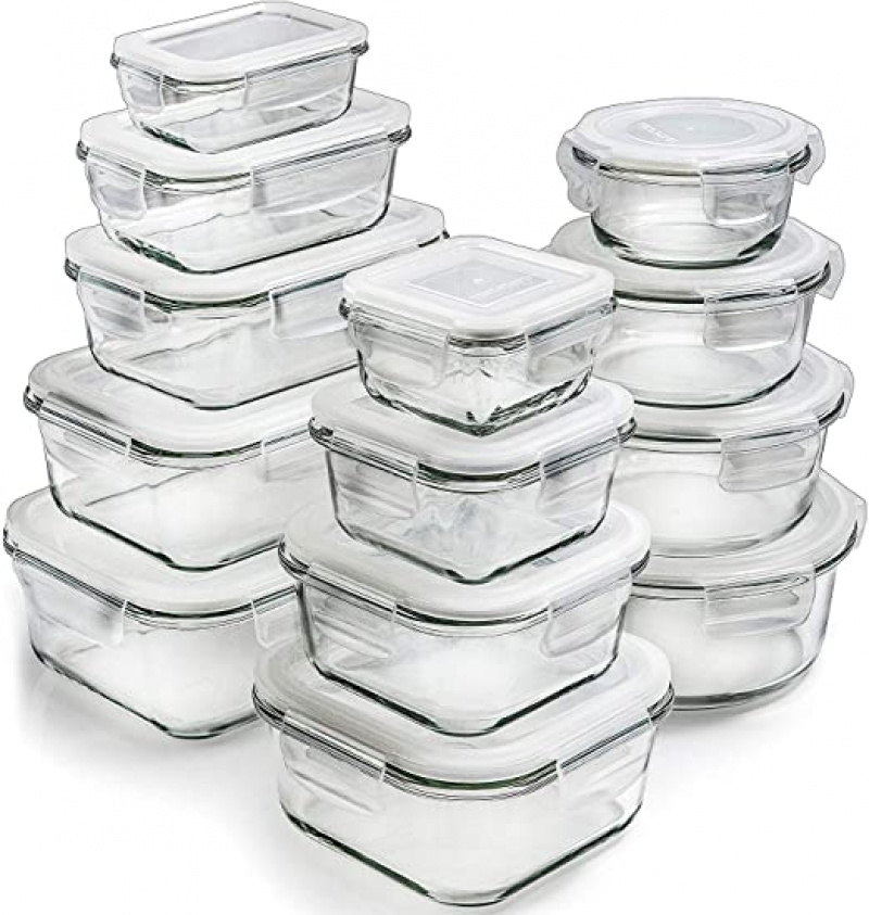 ihocon: Prep Naturals Glass Storage Containers with Lids (13-Pack) 玻璃食物保鮮盒