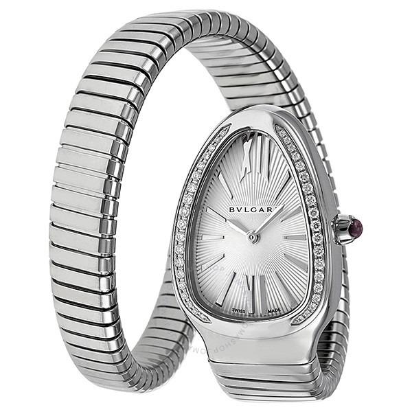 ihocon: Bvlgari Serpenti Diamond Silver Dial Ladies Watch SP35C6SDS.1T 寶格麗女士鑽石手環錶
