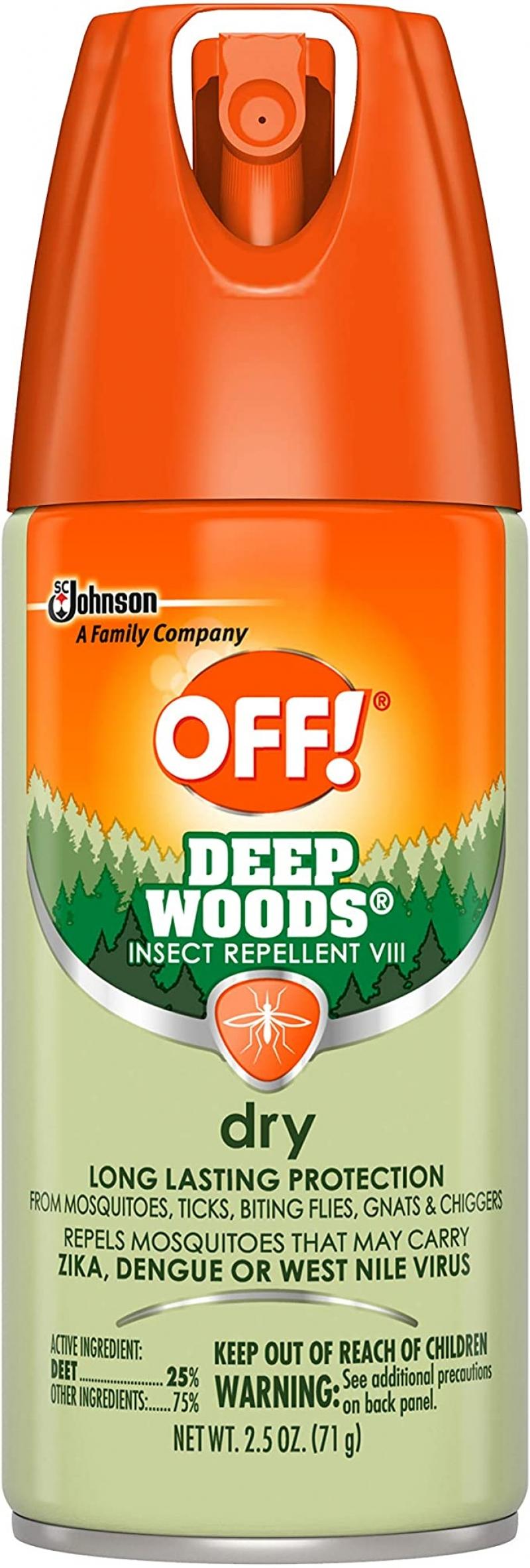 ihocon: OFF! Deep Woods Dry Aerosol, 2.5 Ounce 防蟲噴霧