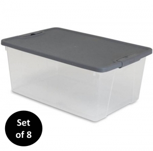ihocon: Mainstay 15 Qt. Plastic Latching Storage Container Clear/Grey, Set of 8 收納箱