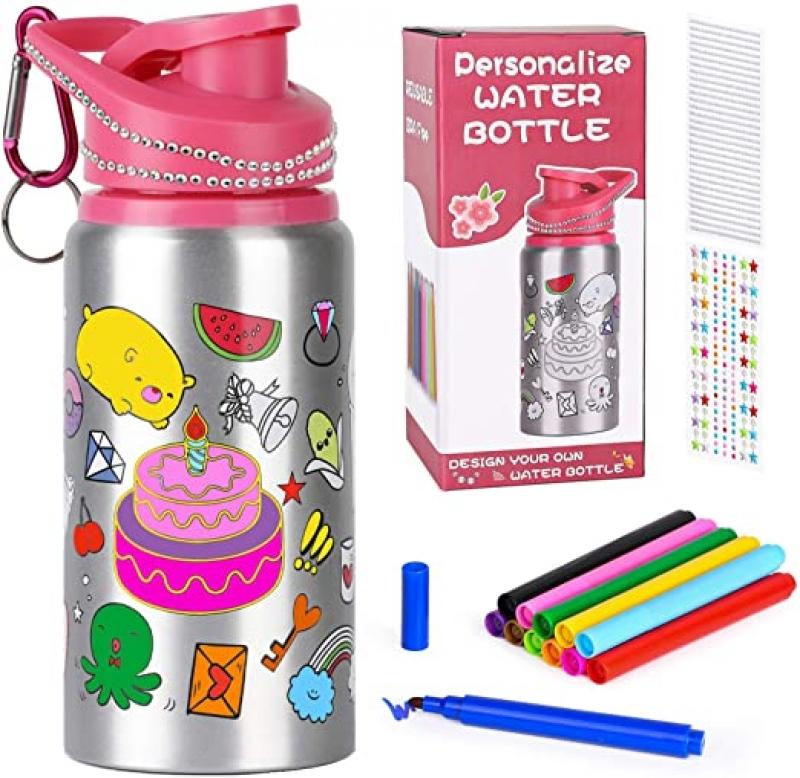 Poscoverge 20 oz 兒童著色水壺, 附防水著色筆及水鑽貼紙 $6.50(原價$12.99)