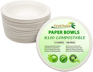 ihocon: FirstChoice Sugarcane Bagasse 12 Ounce Disposable Bowl, Compostable Eco Friendly (100 Pack)紙碗