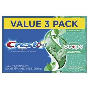 ihocon: Crest Complete Whitening + Scope Toothpaste, Minty Fresh, 5.4 Ounce Triple Pack 美白牙膏3條