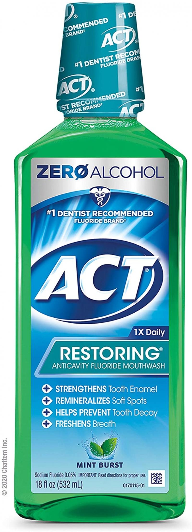 ihocon: ACT Restoring Anticavity Fluoride Mint Burst Mouthwash 18 Ounce 防蛀含氟漱口水