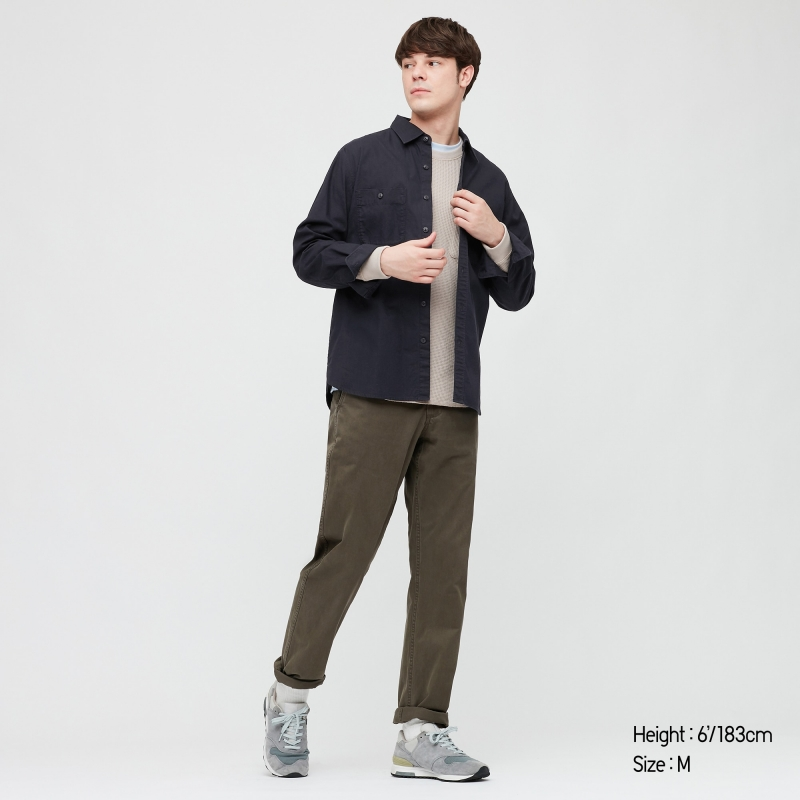 ihocon: UNIQLO MEN WASH LONG-SLEEVE WORK SHIRT 男士長袖襯衫 - 多色可選