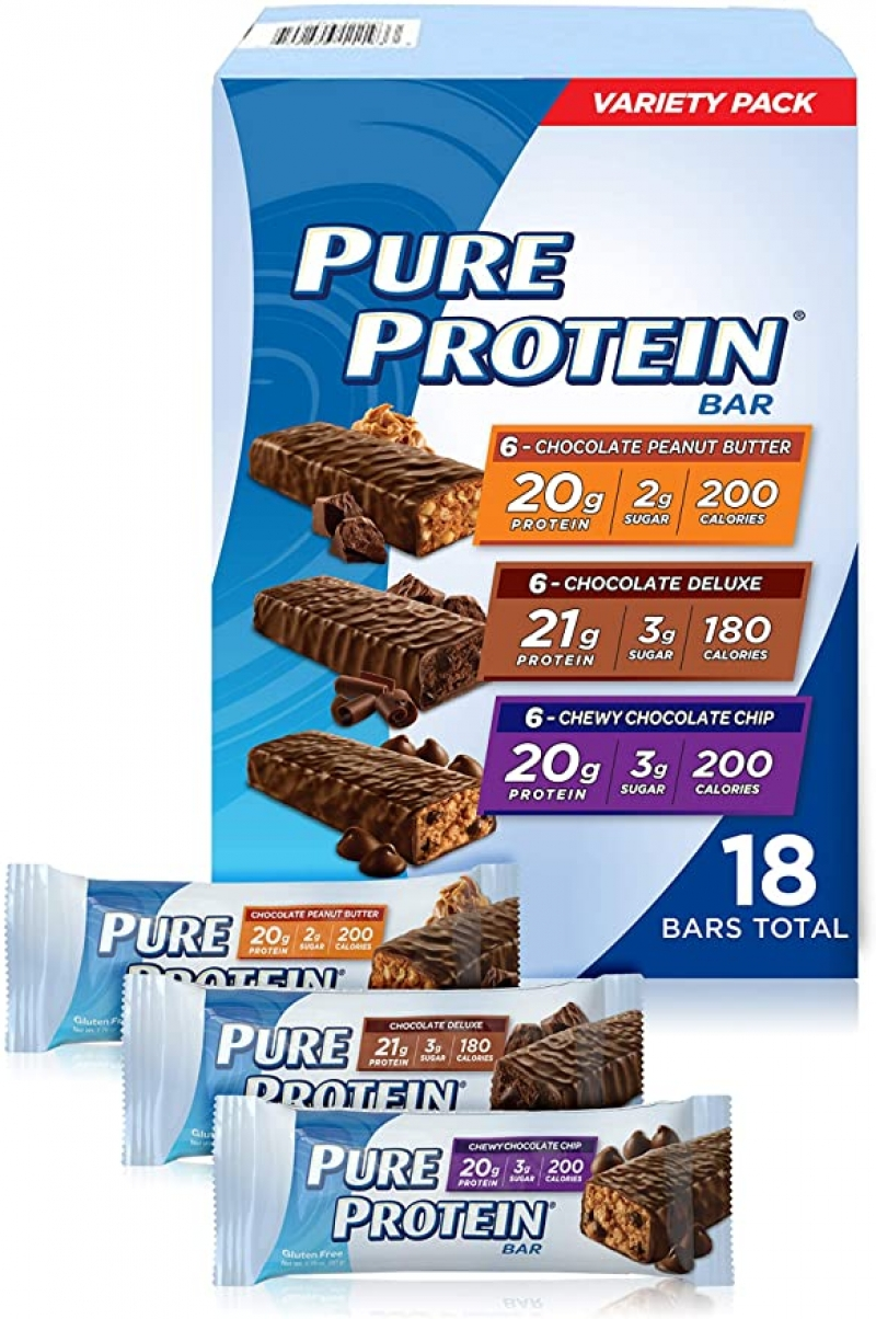 ihocon: Pure Protein Bars, High Protein, Nutritious Snacks, Low Sugar, Gluten Free, Variety Pack, 1.76oz, 18 Pack 低糖無麩質蛋白營養點心棒