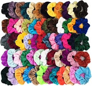 ihocon: Homerove 60pcs Velvet Elastic Hair Bands 大人, 兒童絨布綁髮帶