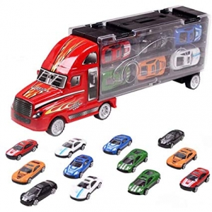 ihocon: LZD Toy Truck Transport Car Carrier Includes 12 Toy Cars  汽車運輸車,含12輛玩具車