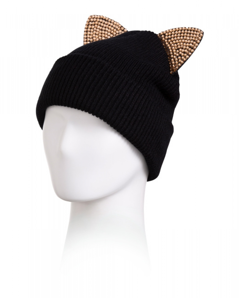ihocon: DAVID & YOUNG COLLECTION Knit Beanie With Rhinestone Cat Ears 水鑽貓耳毛線帽