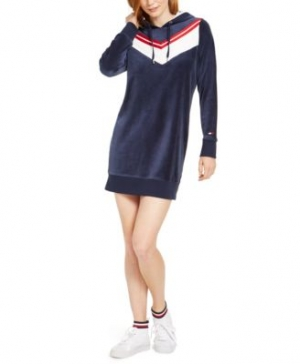 ihocon: Tommy Hilfiger Sport Velour Varsity Chevron Dress 絲絨洋裝