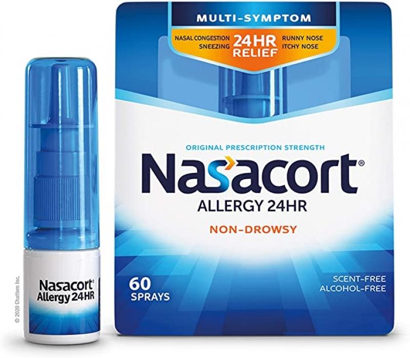 ihocon: Nasacort Allergy 24HR Nasal Spray for Adults, Non-Drowsy & Alcohol-Free, 60 Sprays, 0.37 fl. oz. 過敏噴鼻劑