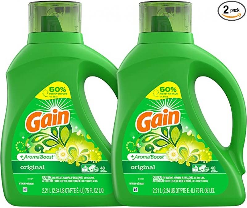 ihocon: Gain Laundry Detergent Liquid Plus Aroma Boost, Original Scent, HE Compatible, 96 Loads Total, 75 Fl Oz (Pack of 2) 洗衣精