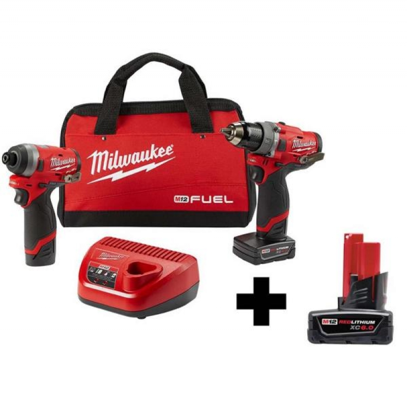 ihocon: Milwaukee M12 FUEL 12-Volt Lithium-Ion Brushless Cordless Hammer Drill and Impact Driver Combo Kit (2-Tool)W/ Free 6.0Ah Battery