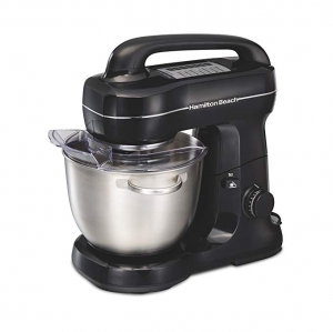 ihocon: Hamilton Beach Electric Stand Mixer, Tilt-Head, 4 Quarts, 7 Speeds With Whisk, Dough Hook, Flat Beater Attachments, Splash Guard, Black (63391)攪拌機