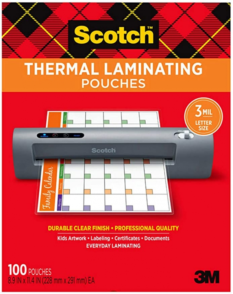 ihocon: Scotch Thermal Laminating Pouches, 100-Pack, 8.9 x 11.4 inches, Letter Size Sheets護貝膠膜