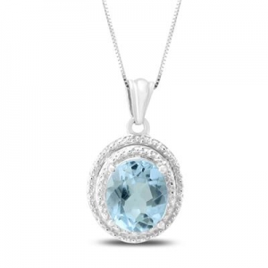 ihocon: 12X10mm Oval Blue Topaz Pendant in .925 Sterling Silver 純銀項鍊