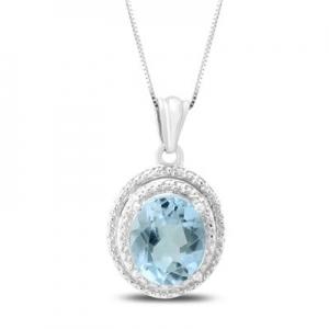 ihocon: 12X10mm Oval Blue Topaz Pendant in .925 Sterling Silver 純銀項鍊