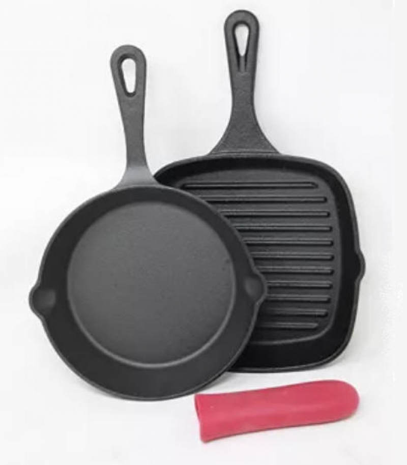 ihocon: Sedona Cast Iron Skillet & Grill Pan 2-Pc. Set plus Handle Holder 鑄鐵煎鍋+燒烤鍋+鍋把隔熱墊