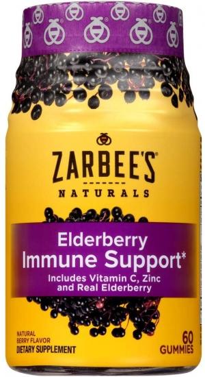 ihocon: Zarbee's Naturals Elderberry Immune Support* with Vitamin C & Zinc, Natural Berry Flavor, 60 Gummies 接骨木漿果免疫力增強軟糖