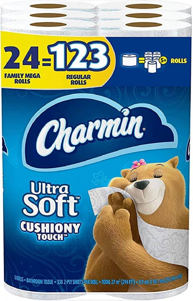 ihocon: [24捲等於123捲的份量]Charmin Ultra Soft Cushiony Touch Toilet Paper, 24 Family Mega Rolls = 123 Regular Rolls廁所衛生紙