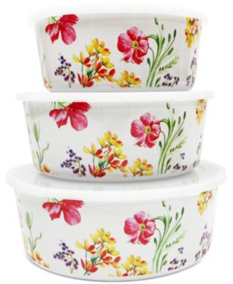 ihocon: Martha Stewart Collection Floral Nesting Food Storage Containers, Set of 3 食物保鮮盒