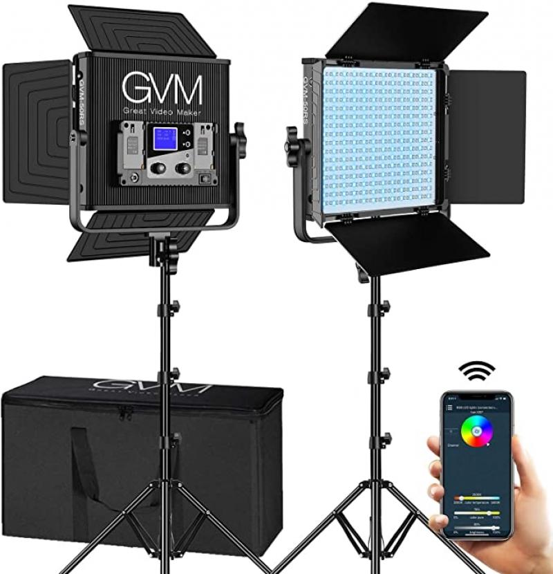 ihocon: GVM RGB LED Video Lighting Kit with APP Control 攝影補光燈一組