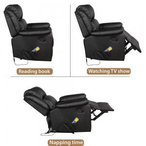 ihocon: Merax Black Power Massage Reclining Chair with Heat 加熱按摩可躺沙發椅