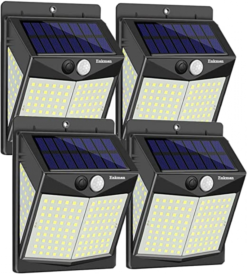 ihocon: Enkman Solar Lights Outdoor [4 Pack/3 Modes/140 LEDs] 動作感應庭園燈