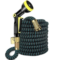ihocon: UMANOR 50ft Flexible Garden Hose with 9 Spray Pattern Nozzle伸縮澆花水管, 含噴水頭