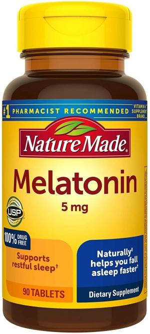 ihocon: [幫助睡眠] Nature Made Melatonin 5mg Tablets, 90 Count褪黑激素