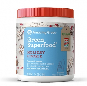 ihocon: Amazing Grass Green Superfood: Super Greens Powder with Spirulina, Chlorella, Digestive Enzymes & Probiotics, Holiday Cookie, 30 Servings 超級食品