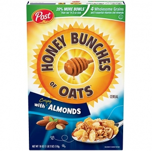 ihocon: Post Honey Bunches of Oats with Crispy Almonds, Whole Grain, Low Fat Breakfast Cereal 18 oz. Box