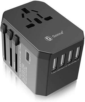 ihocon: Gonine 4 USB Ports Wall Outlet Charger for 150+ Countries, AC Converter with Type C Ports for EU Europe UK US AUS & Asia Japan China 萬用旅行插座(多國適用)