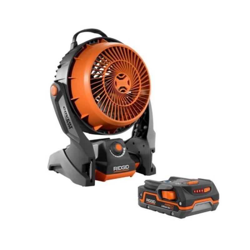 ihocon: RIDGID 18-Volt Cordless Hybrid Fan with 1.5 Ah Lithium-Ion Battery 無線風扇