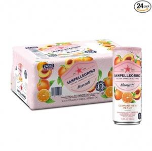 ihocon: San pellegrino Momenti Clementine & Peach Cans, 11.15 Fl Oz (24 Pack)水果口味氣泡水