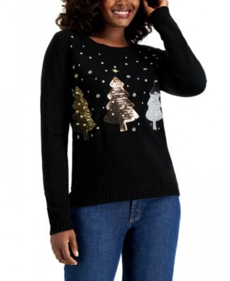 ihocon: Karen Scott Sequin-Embellished Christmas Tree Sweater亮片聖誕毛衣