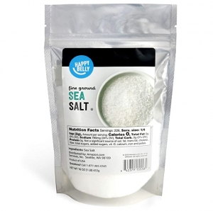 ihocon: [Amazon自家品牌] Happy Belly Sea Salt, Fine Ground, 16 Ounces 研磨海鹽