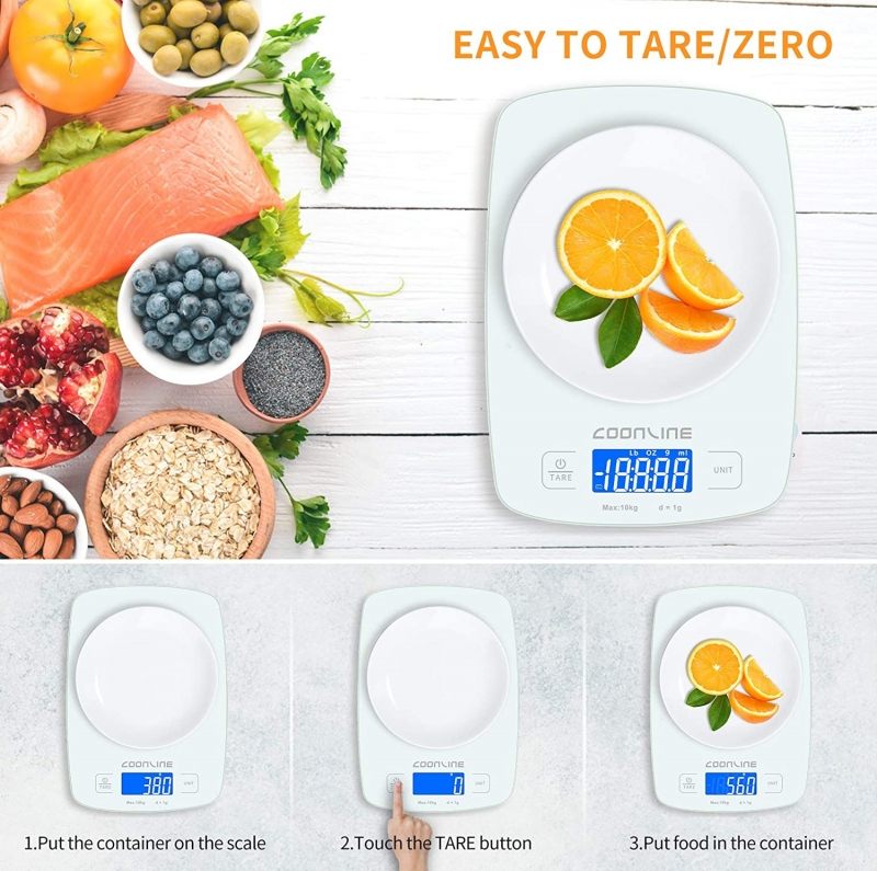 ihocon: Coonline 22lb 1g/0.1oz Precise Touch Screen Digital Kitchen Scale with Tare Function 廚用電子秤