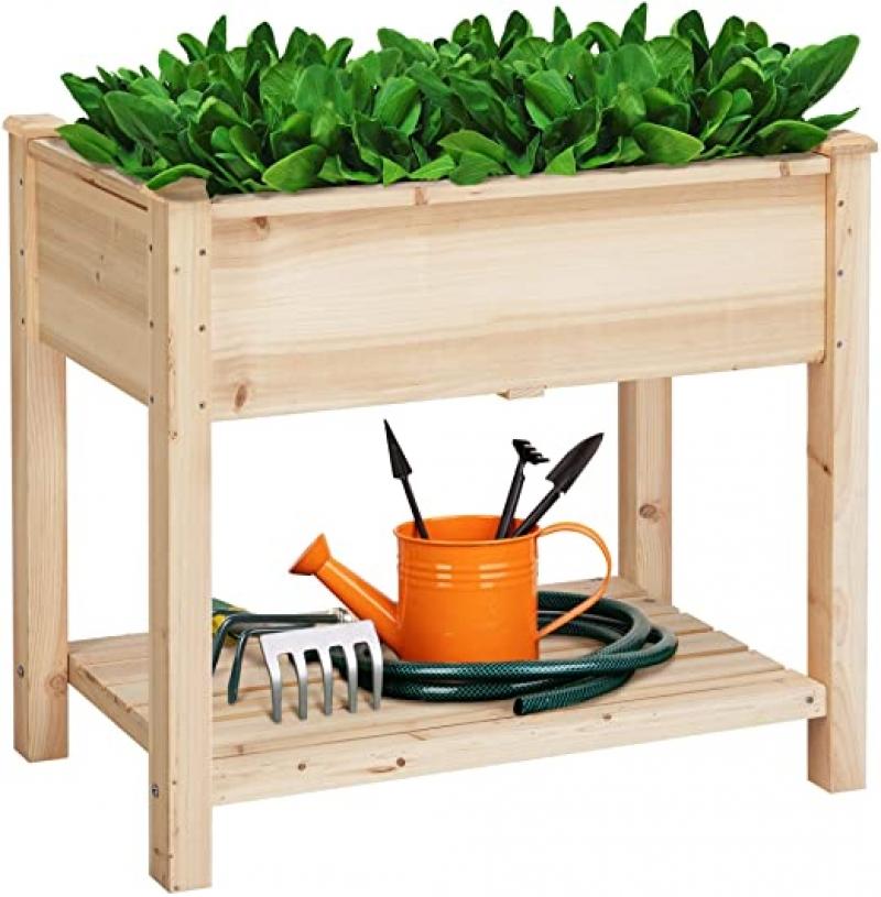 ihocon: YAHEETECH Wooden Raised Elevated Garden Bed Kit 木製植物種植高架花床