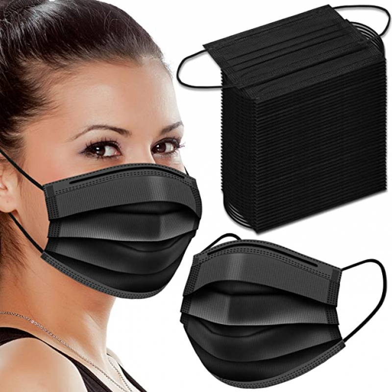 ihocon: WAPIKE Black Face Masks, 100 Pcs 一次性黑色口罩