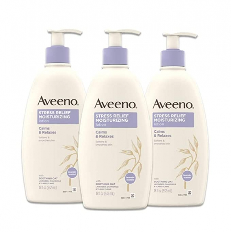 ihocon: Aveeno Stress Relief Moisturizing Body Lotion with Lavender, 18 fl. Oz (Pack of 3) 薰衣草舒緩身體保濕乳