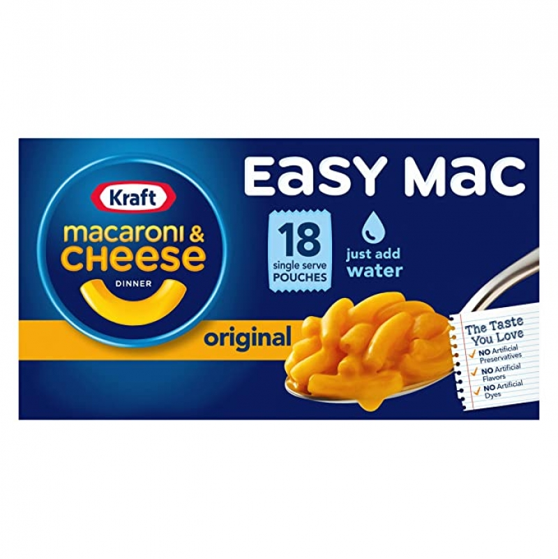 ihocon: Kraft Easy Mac Original Flavor Macaroni and Cheese Meal (18 Pouches)