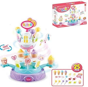ihocon: SWodtoizi 25-Piece of Candy Ice Cream Cupcake Rotating Plate Toy Playset 玩具冰淇淋蛋糕