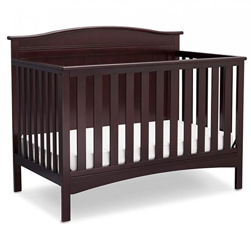 ihocon: Delta Children Bennett 4-in-1 Convertible Baby Crib, Dark Chocolate 嬰兒床